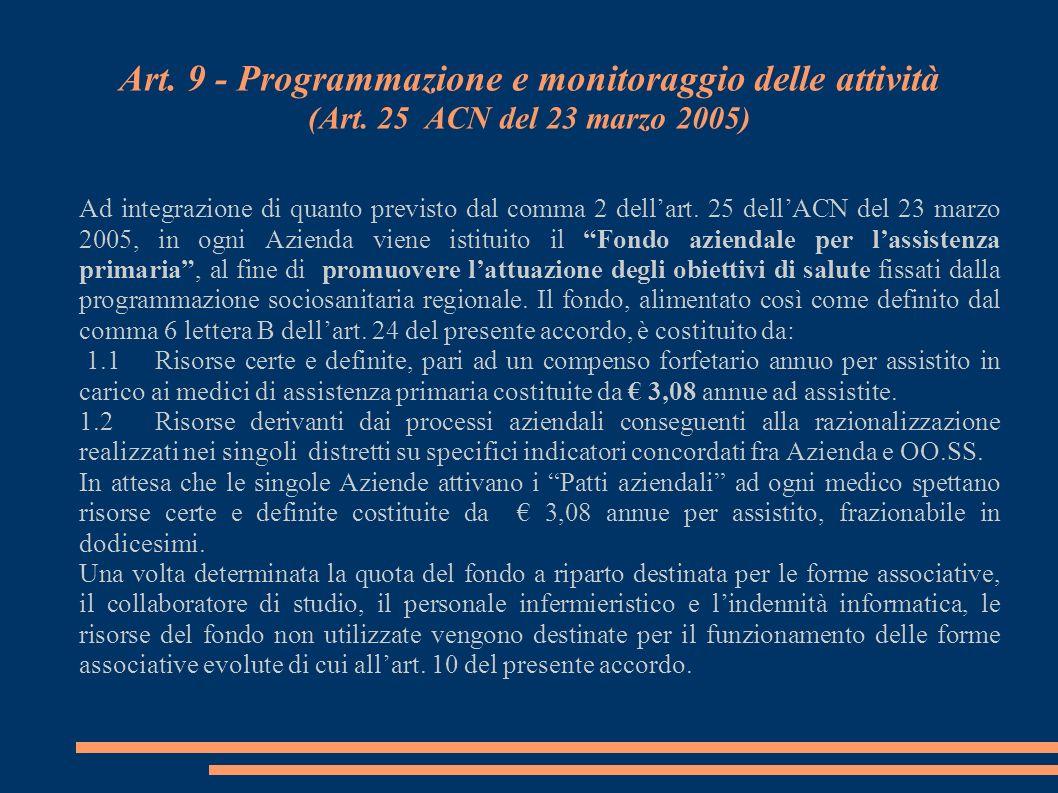 Art. 9 - Programmazione e monitoraggio delle attività (Art. 25 ACN del 23 marzo 2005) Ad integrazione di quanto previsto dal comma 2 dellart. 25 dellA