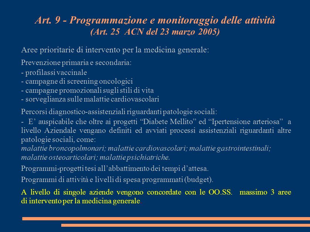 Art. 9 - Programmazione e monitoraggio delle attività (Art. 25 ACN del 23 marzo 2005) Aree prioritarie di intervento per la medicina generale: Prevenz