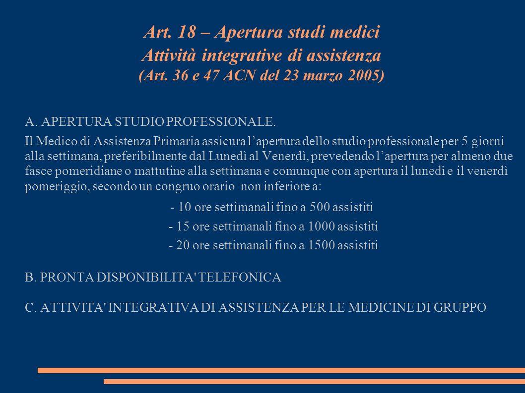 Art. 18 – Apertura studi medici Attività integrative di assistenza (Art. 36 e 47 ACN del 23 marzo 2005) A. APERTURA STUDIO PROFESSIONALE. Il Medico di