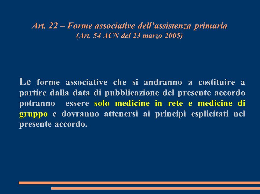 Art. 22 – Forme associative dellassistenza primaria (Art. 54 ACN del 23 marzo 2005) Le forme associative che si andranno a costituire a partire dalla