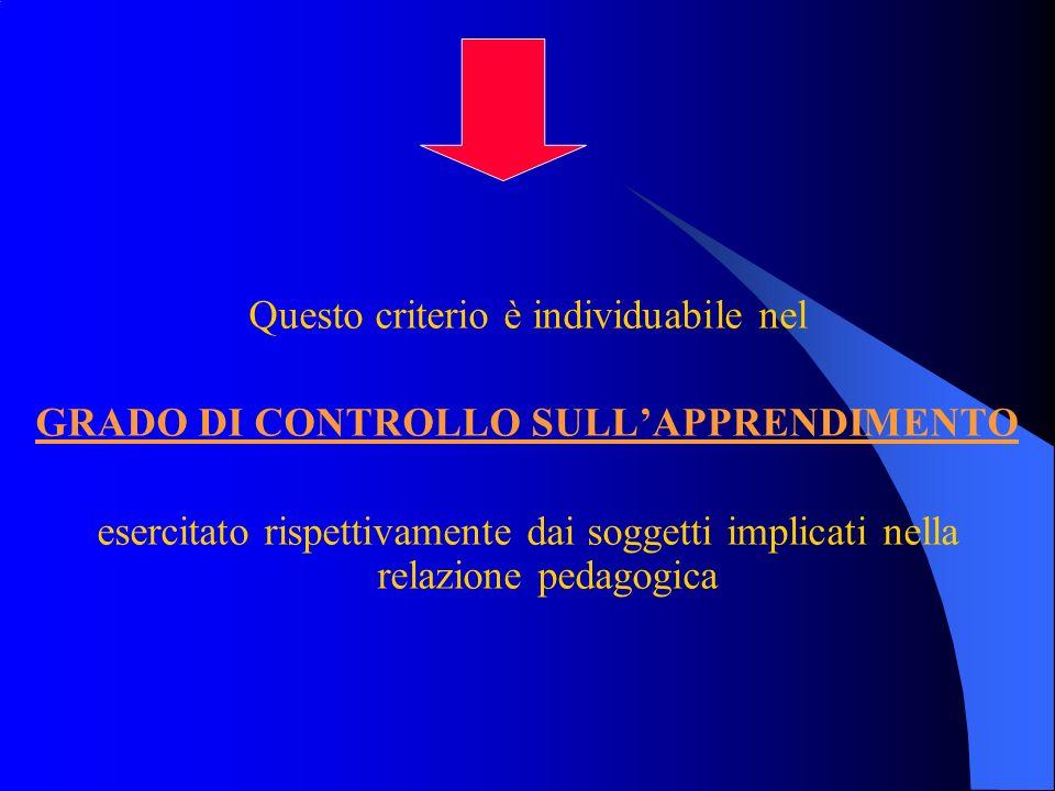 Questo criterio è individuabile nel GRADO DI CONTROLLO SULLAPPRENDIMENTO esercitato rispettivamente dai soggetti implicati nella relazione pedagogica