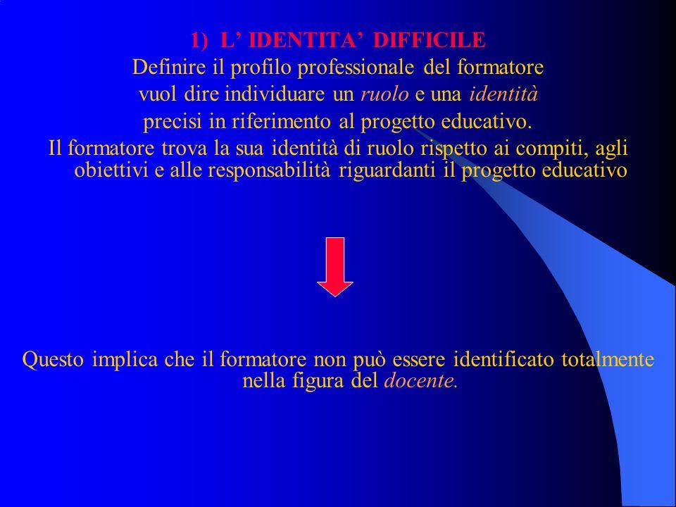 1) L IDENTITA DIFFICILE Definire il profilo professionale del formatore vuol dire individuare un ruolo e una identità precisi in riferimento al proget