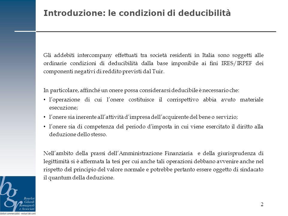 2 Introduzione: le condizioni di deducibilità Gli addebiti intercompany effettuati tra società residenti in Italia sono soggetti alle ordinarie condiz