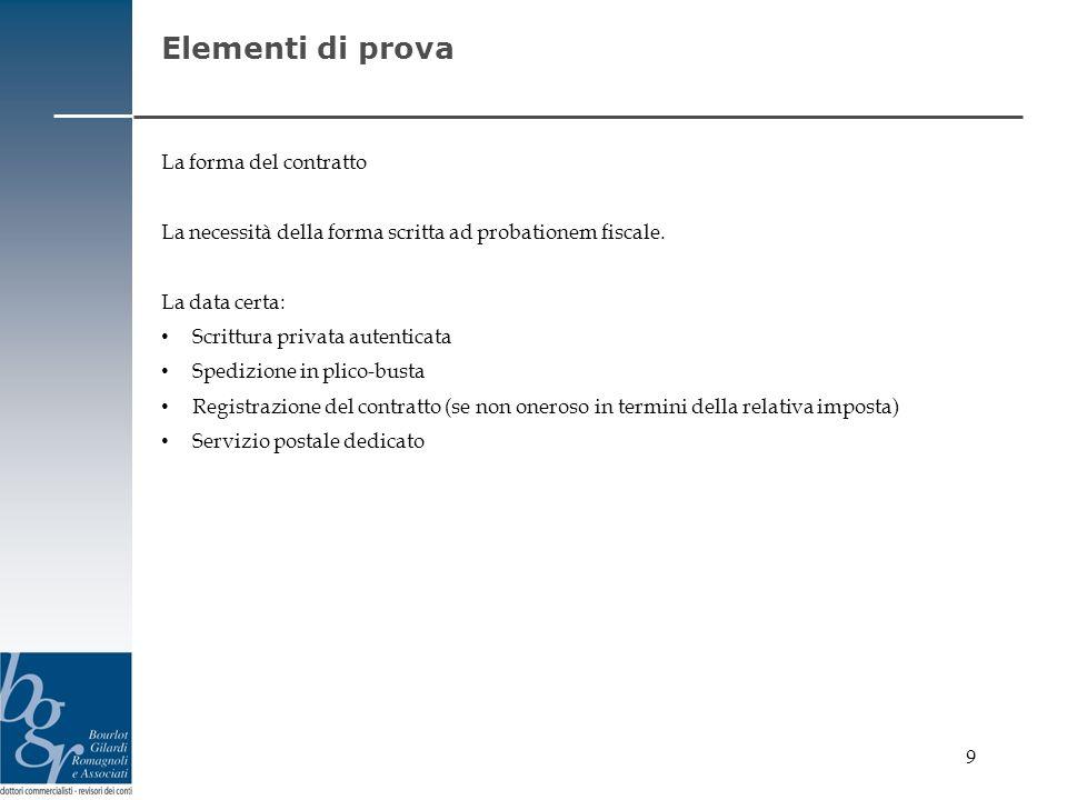 9 Elementi di prova La forma del contratto La necessità della forma scritta ad probationem fiscale. La data certa: Scrittura privata autenticata Spedi