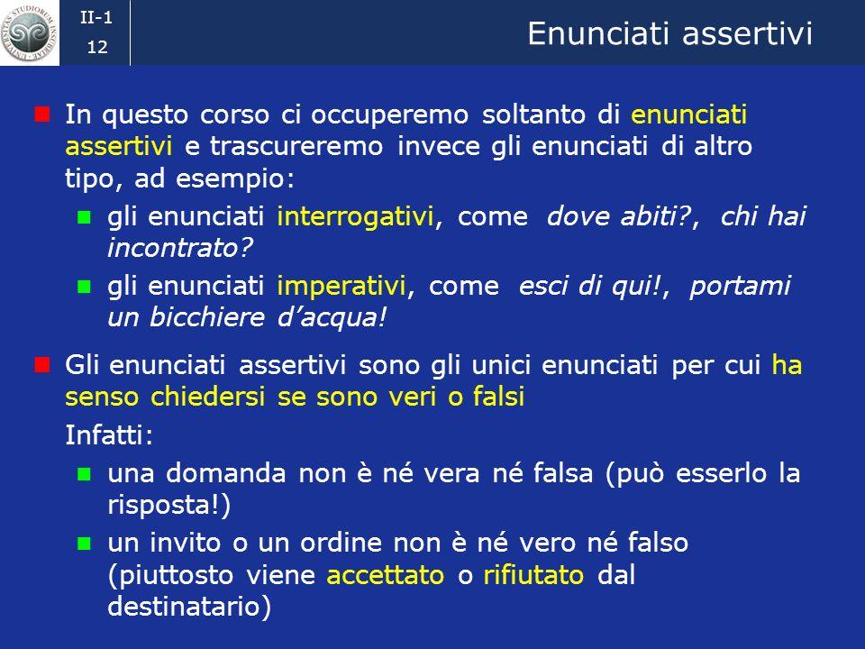 II-1 11 Enunciati (2) In generale una frase non ha un significato del tutto determinato, solo un enunciato ce lha Esempio.