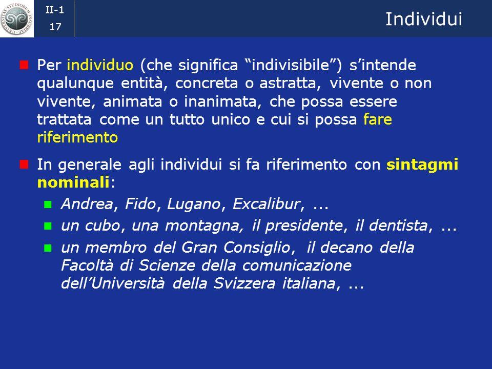 II-1 16 Stati di cose Un mondo del discorso è costituito da stati di cose In prima approssimazione uno stato di cose è composto da certi individui, dalle loro proprietà e dalle relazioni che sussistono fra di essi: proprietà:lindividuo A è un cubo lindividuo A è verde lindividuo B è un ripiano relazioni:lindividuo A è sullindividuo B individuo A individuo B