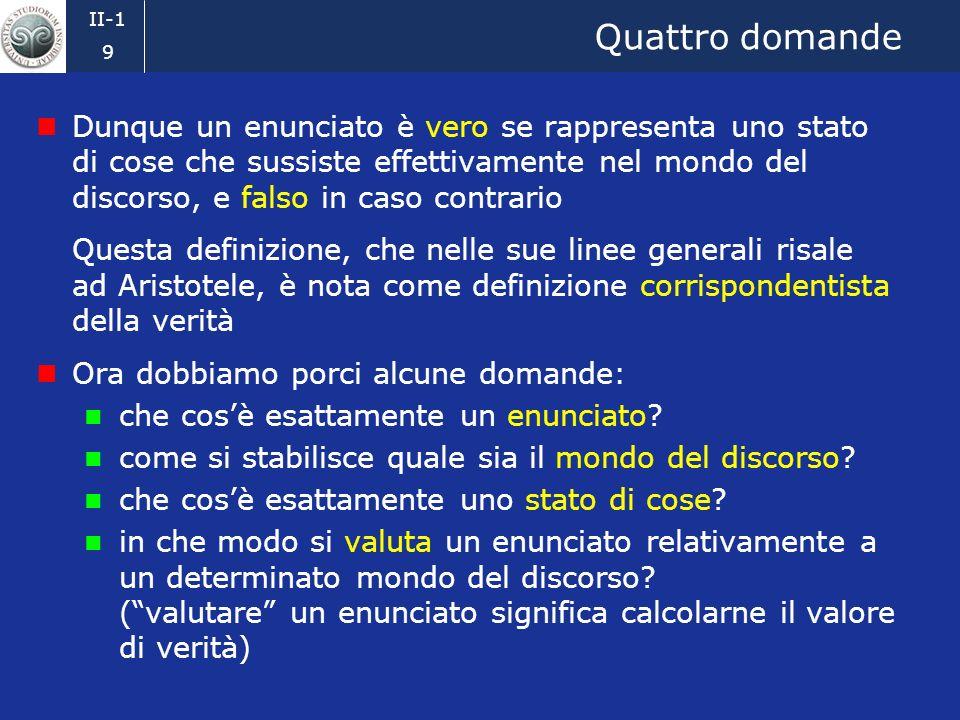II-1 8 Lassunzione binaria (2) In questo corso, quindi, adotteremo lassunzione binaria, che consiste nel prendere in considerazione soltanto enunciati
