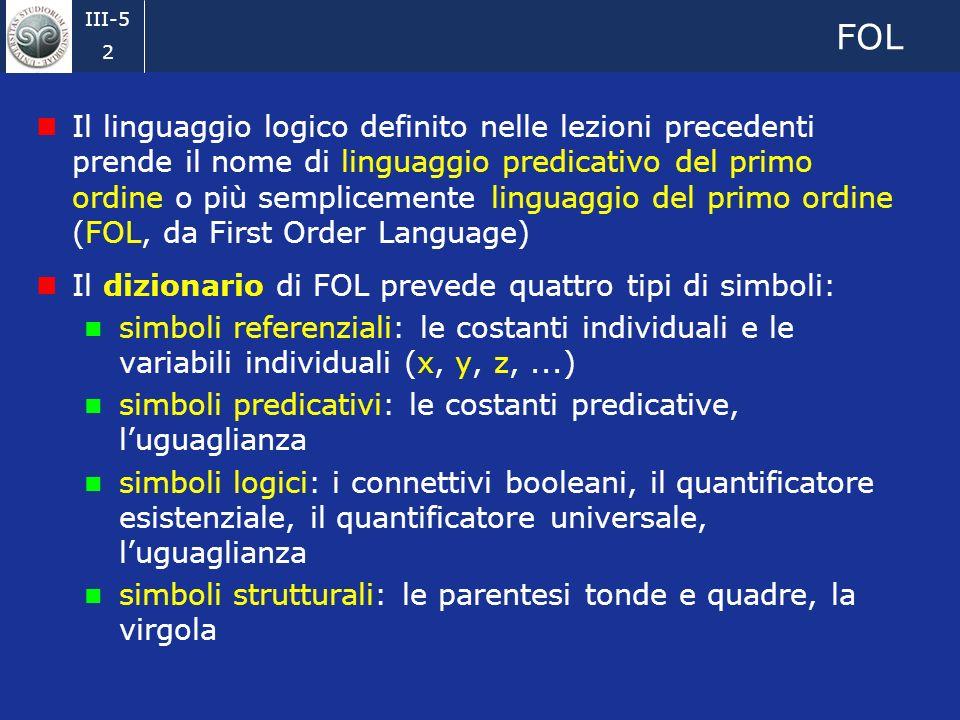 III-5 1 Sommario Nelle lezioni precedenti abbiamo introdotto tutti gli elementi che formano un particolare tipo di linguaggio logico, denominato lingu
