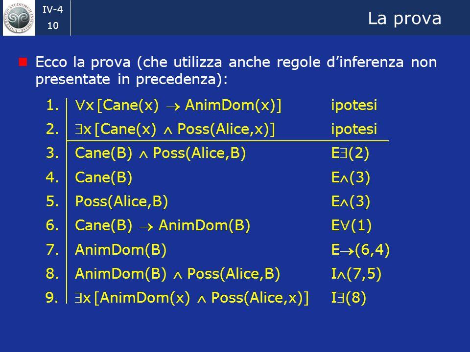 IV-4 10 La prova Ecco la prova (che utilizza anche regole dinferenza non presentate in precedenza): 1.