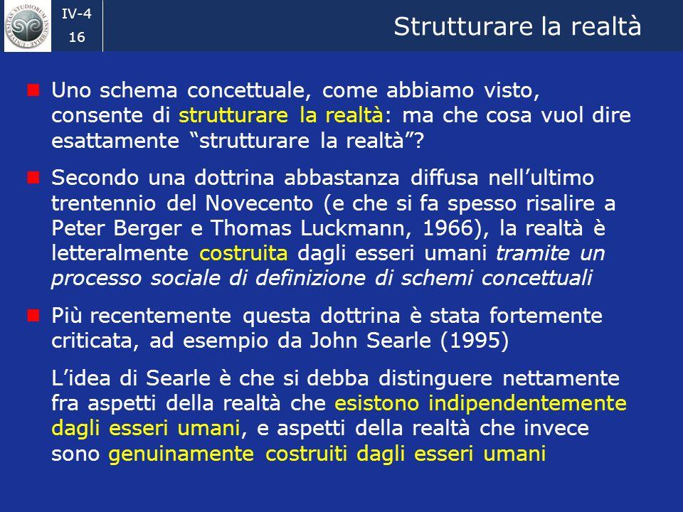 IV-4 16 Strutturare la realtà Uno schema concettuale, come abbiamo visto, consente di strutturare la realtà: ma che cosa vuol dire esattamente strutturare la realtà.