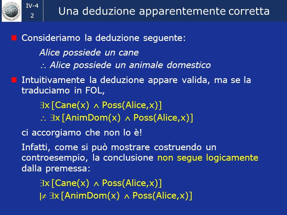 IV-4 2 Una deduzione apparentemente corretta Consideriamo la deduzione seguente: Alice possiede un cane Alice possiede un animale domestico Intuitivamente la deduzione appare valida, ma se la traduciamo in FOL, x [Cane(x) Poss(Alice,x)] x [AnimDom(x) Poss(Alice,x)] ci accorgiamo che non lo è.