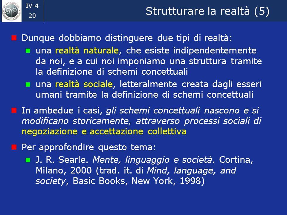 IV-4 20 Strutturare la realtà (5) Dunque dobbiamo distinguere due tipi di realtà: una realtà naturale, che esiste indipendentemente da noi, e a cui noi imponiamo una struttura tramite la definizione di schemi concettuali una realtà sociale, letteralmente creata dagli esseri umani tramite la definizione di schemi concettuali In ambedue i casi, gli schemi concettuali nascono e si modificano storicamente, attraverso processi sociali di negoziazione e accettazione collettiva Per approfondire questo tema: J.