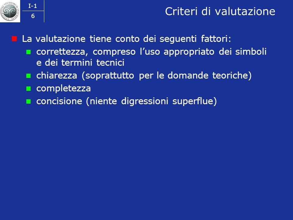 I-1 6 Criteri di valutazione La valutazione tiene conto dei seguenti fattori: correttezza, compreso luso appropriato dei simboli e dei termini tecnici chiarezza (soprattutto per le domande teoriche) completezza concisione (niente digressioni superflue)