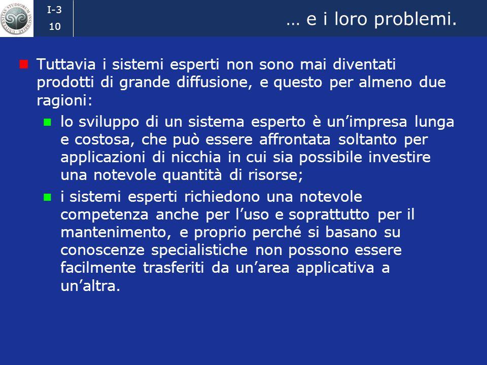 I-3 9 I sistemi esperti Un sistema esperto è un sistema software in grado di risolvere problemi utilizzando conoscenze specialistiche; applicazioni ti
