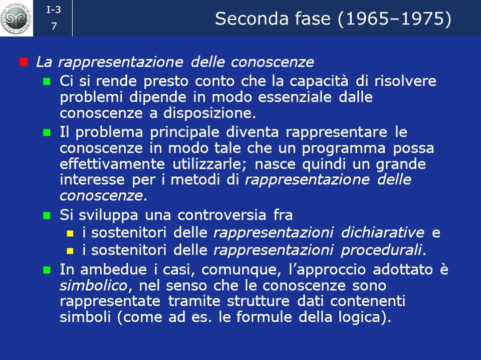 I-3 6 Prima fase (1956–1965) lintelligenza artificiale e la risoluzione automatica di problemi Lintelligenza artificiale (IA o AI, da artificial intel