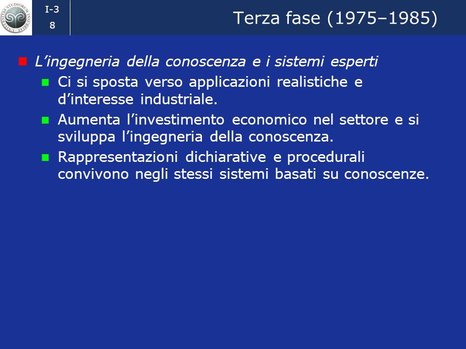 I-3 7 Seconda fase (1965–1975) La rappresentazione delle conoscenze Ci si rende presto conto che la capacità di risolvere problemi dipende in modo ess