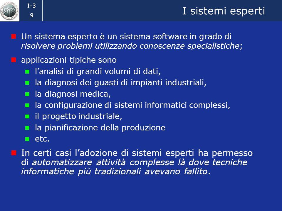 I-3 8 Terza fase (1975–1985) Lingegneria della conoscenza e i sistemi esperti Ci si sposta verso applicazioni realistiche e dinteresse industriale. Au