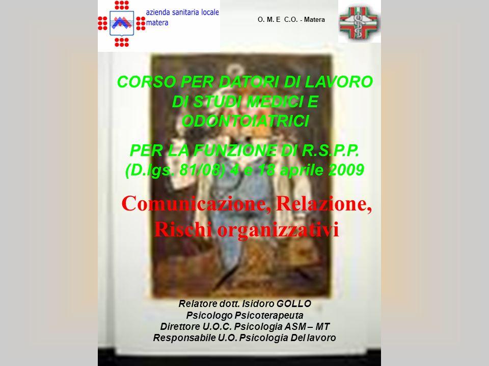 CORSO PER DATORI DI LAVORO DI STUDI MEDICI E ODONTOIATRICI PER LA FUNZIONE DI R.S.P.P. (D.lgs. 81/08) 4 e 18 aprile 2009 Relatore dott. Isidoro GOLLO