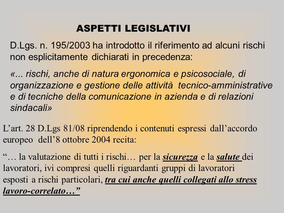 ASPETTI LEGISLATIVI Lart. 28 D.Lgs 81/08 riprendendo i contenuti espressi dallaccordo europeo dell8 ottobre 2004 recita: … la valutazione di tutti i r