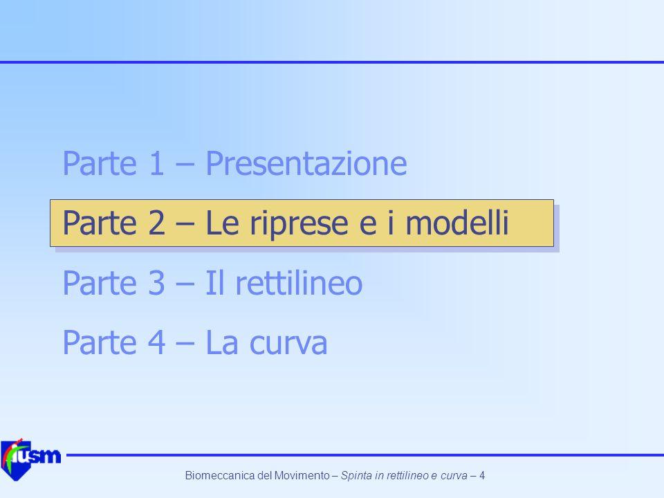 Biomeccanica del Movimento – Spinta in rettilineo e curva – 5 Le riprese e i modelli Le riprese sono state effettuate a Roma a fine settembre 2002.