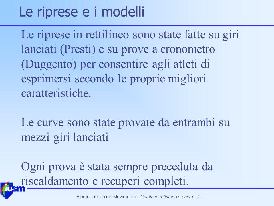 Biomeccanica del Movimento – Spinta in rettilineo e curva – 60 La curva Presti12.11 +/- 0.15 m/s Duggento12.35 +/- 0.11 m/s Anche in questo caso le velocità di esecuzione sono risultate praticamente omogenee I dati sono meno numerosi di quelli del rettilineo, per cui le conclusioni sono meno sicure.