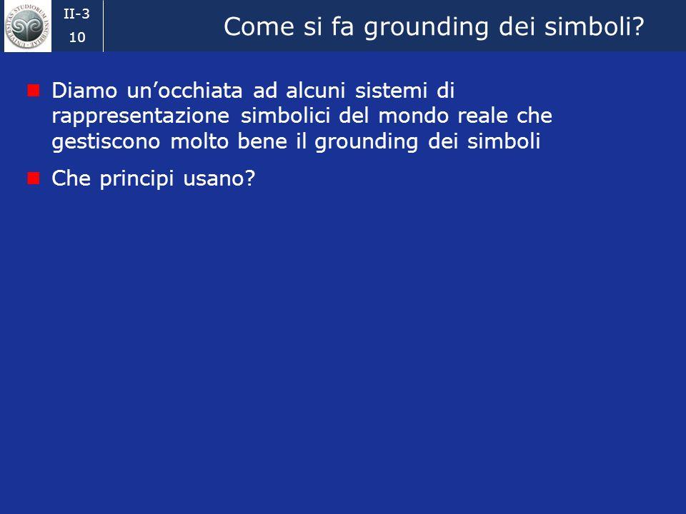 II-3 9 Il problema del Symbol Grounding (4) Si può smettere di girovagare da un simbolo allaltro? How is symbol meaning to be grounded in anything oth