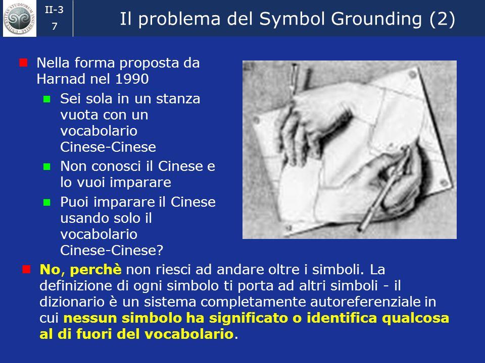 II-3 7 Il problema del Symbol Grounding (2) Nella forma proposta da Harnad nel 1990 Sei sola in un stanza vuota con un vocabolario Cinese-Cinese Non conosci il Cinese e lo vuoi imparare Puoi imparare il Cinese usando solo il vocabolario Cinese-Cinese.
