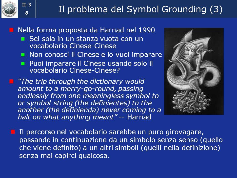 II-3 8 Il problema del Symbol Grounding (3) Nella forma proposta da Harnad nel 1990 Sei sola in un stanza vuota con un vocabolario Cinese-Cinese Non conosci il Cinese e lo vuoi imparare Puoi imparare il Cinese usando solo il vocabolario Cinese-Cinese.