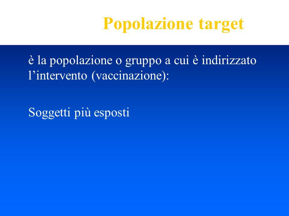 Popolazione target è la popolazione o gruppo a cui è indirizzato lintervento (vaccinazione): Soggetti più esposti