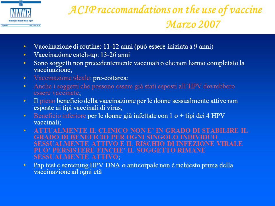 ACIP raccomandations on the use of vaccine Marzo 2007 Vaccinazione di routine: 11-12 anni (può essere iniziata a 9 anni) Vaccinazione catch-up: 13-26