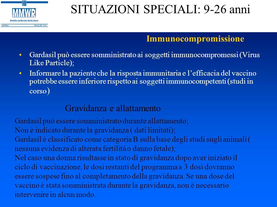 Immunocompromissione Gardasil può essere somministrato ai soggetti immunocompromessi (Virus Like Particle); Informare la paziente che la risposta immu
