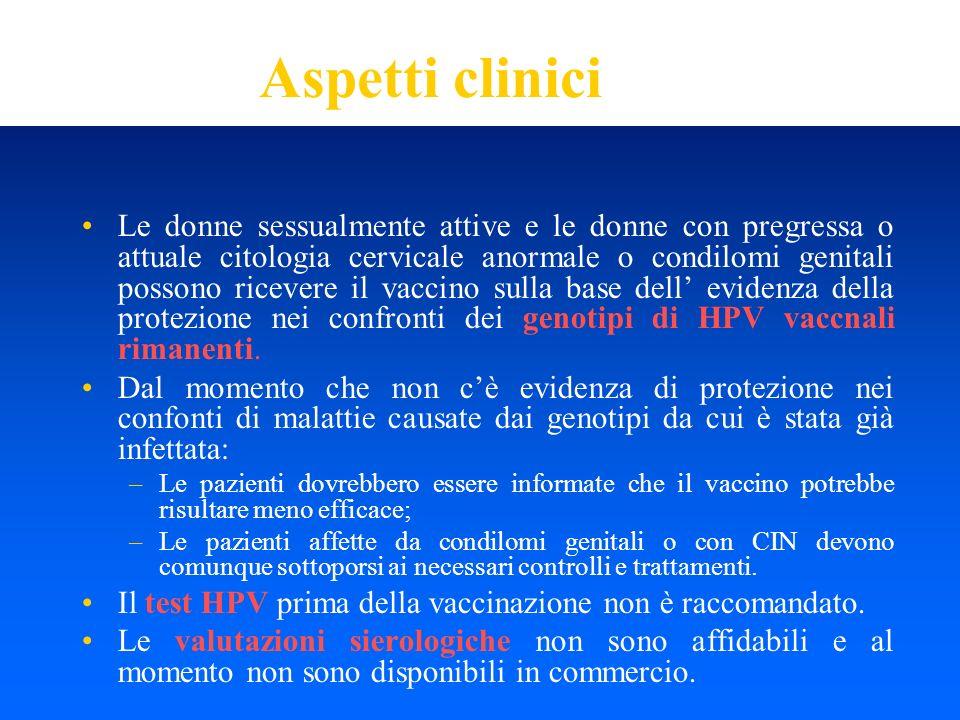 Aspetti clinici Le donne sessualmente attive e le donne con pregressa o attuale citologia cervicale anormale o condilomi genitali possono ricevere il