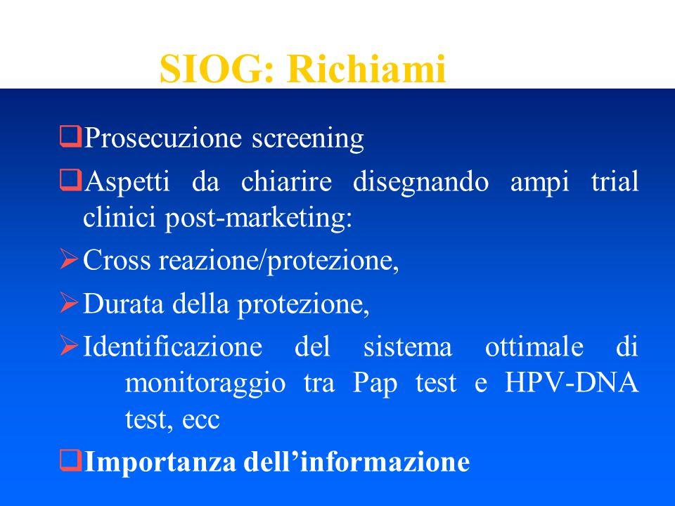 SIOG: Richiami Prosecuzione screening Aspetti da chiarire disegnando ampi trial clinici post-marketing: Cross reazione/protezione, Durata della protez