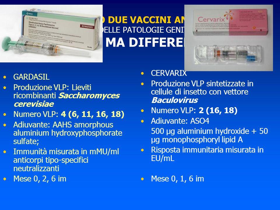 ABBIAMO DUE VACCINI ANTI HPV PER LA PREVENZIONE DELLE PATOLOGIE GENITALI HPV CORRELATE SIMILI MA DIFFERENTI !!! GARDASIL Produzione VLP: Lieviti ricom