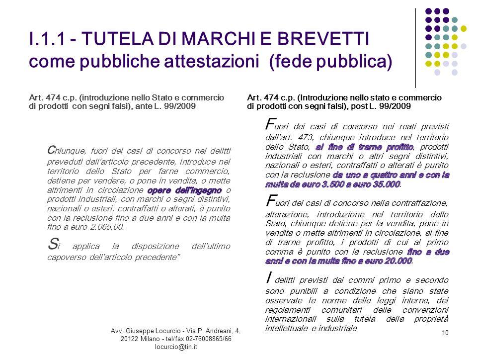 I.1.1 - TUTELA DI MARCHI E BREVETTI come pubbliche attestazioni (fede pubblica) Art. 474 c.p. (introduzione nello Stato e commercio di prodotti con se