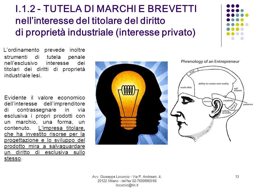 I.1.2 - TUTELA DI MARCHI E BREVETTI nellinteresse del titolare del diritto di proprietà industriale (interesse privato) Lordinamento prevede inoltre s
