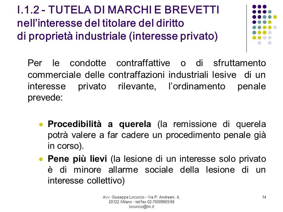 I.1.2 - TUTELA DI MARCHI E BREVETTI nellinteresse del titolare del diritto di proprietà industriale (interesse privato) Per le condotte contraffattive