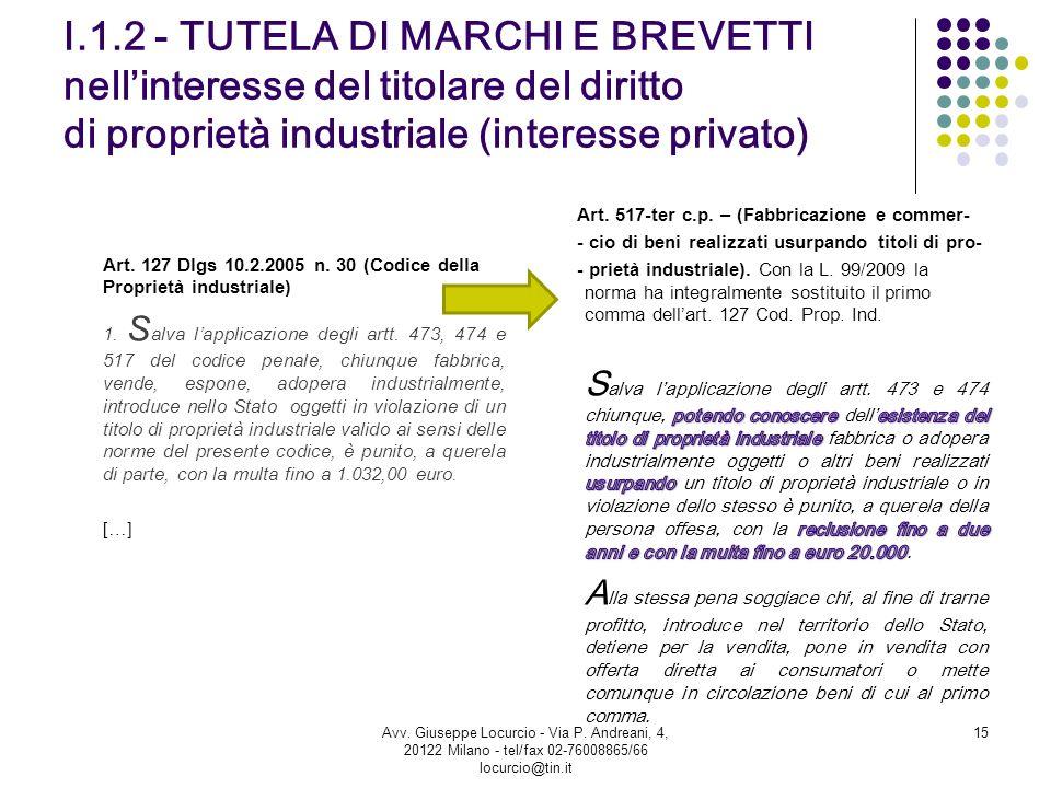 I.1.2 - TUTELA DI MARCHI E BREVETTI nellinteresse del titolare del diritto di proprietà industriale (interesse privato) Art. 127 Dlgs 10.2.2005 n. 30