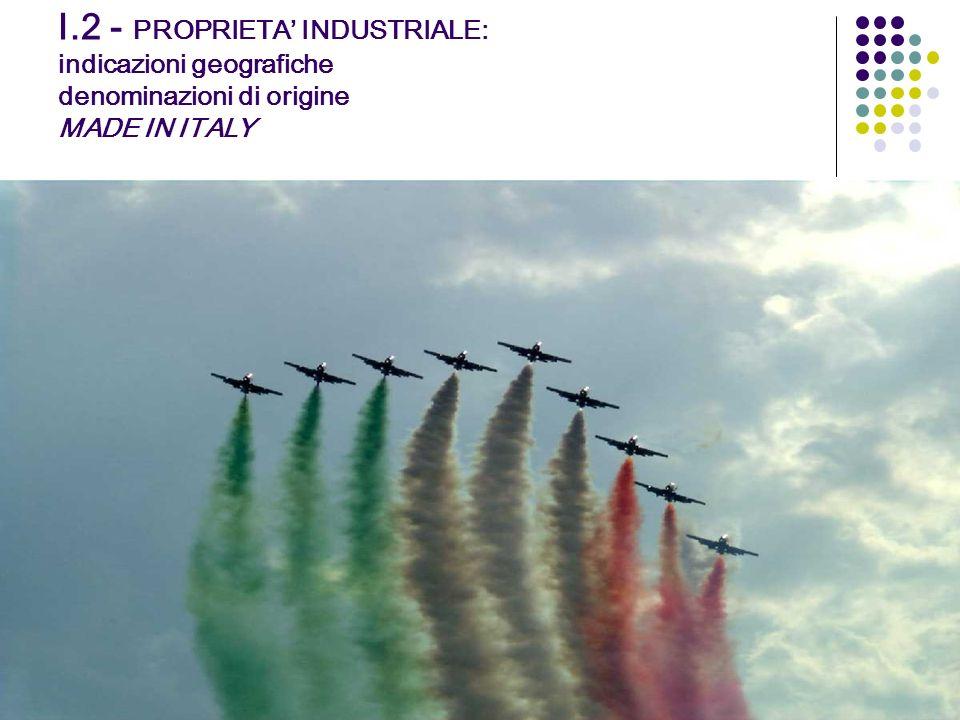 I.2 - PROPRIETA INDUSTRIALE: indicazioni geografiche denominazioni di origine MADE IN ITALY Interessi privati relativi al singolo titolare del titolo