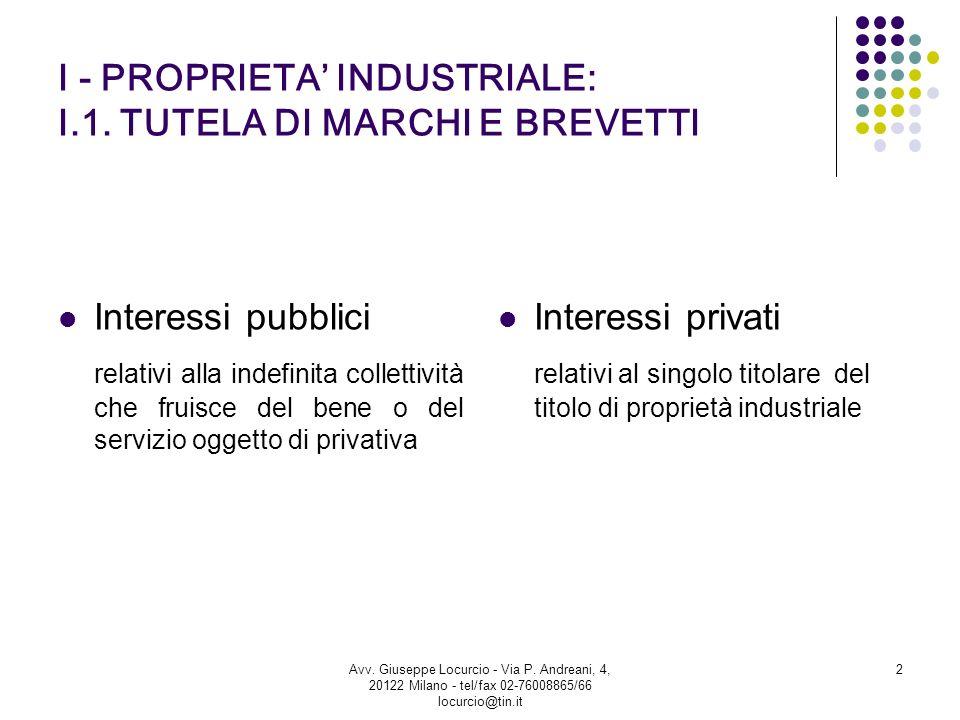 I - PROPRIETA INDUSTRIALE: I.1. TUTELA DI MARCHI E BREVETTI Interessi pubblici relativi alla indefinita collettività che fruisce del bene o del serviz