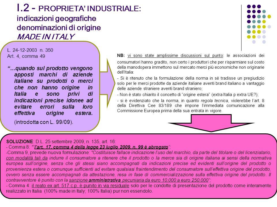 I.2 - PROPRIETA INDUSTRIALE: indicazioni geografiche denominazioni di origine MADE IN ITALY 20 L. 24-12-2003 n. 350 Art. 4, comma 49 …quando sul prodo