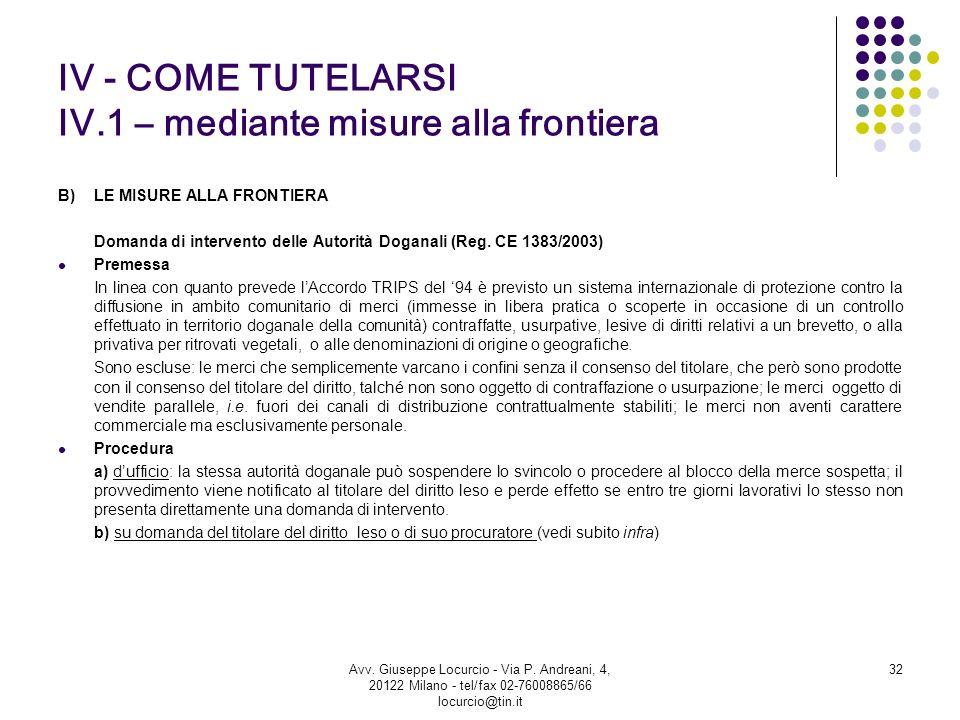 IV - COME TUTELARSI IV.1 – mediante misure alla frontiera B) LE MISURE ALLA FRONTIERA Domanda di intervento delle Autorità Doganali (Reg. CE 1383/2003