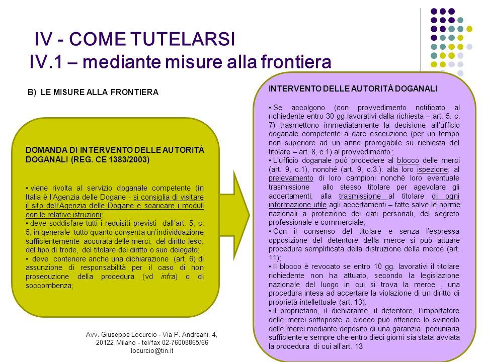 IV - COME TUTELARSI IV.1 – mediante misure alla frontiera B) LE MISURE ALLA FRONTIERA 33 DOMANDA DI INTERVENTO DELLE AUTORITÀ DOGANALI (REG. CE 1383/2