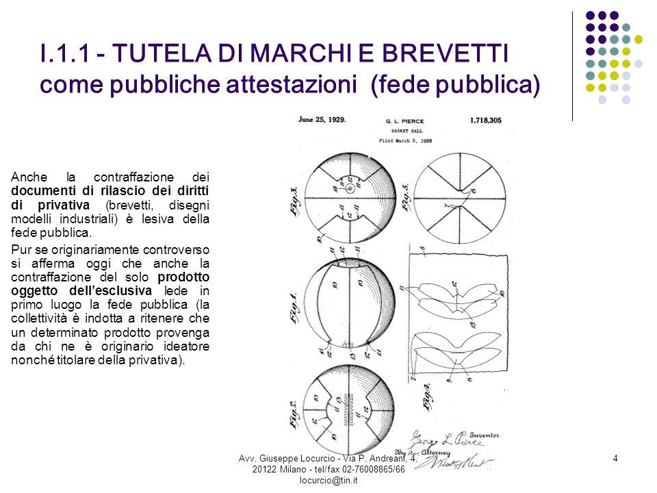 I.1.1 - TUTELA DI MARCHI E BREVETTI come pubbliche attestazioni (fede pubblica) Anche la contraffazione dei documenti di rilascio dei diritti di priva