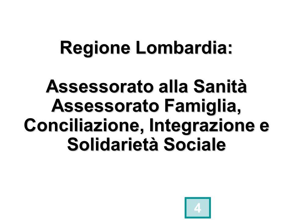 Regione Lombardia: Assessorato alla Sanità Assessorato Famiglia, Conciliazione, Integrazione e Solidarietà Sociale 4