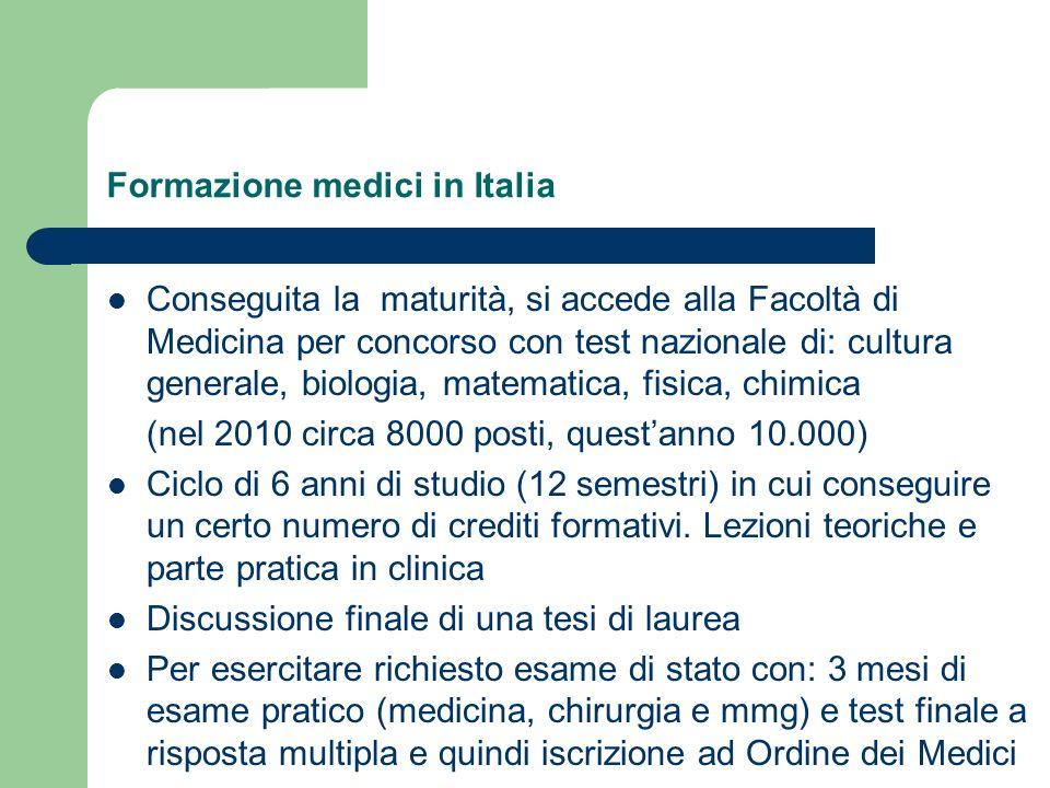 Formazione medici in Italia Conseguita la maturità, si accede alla Facoltà di Medicina per concorso con test nazionale di: cultura generale, biologia,