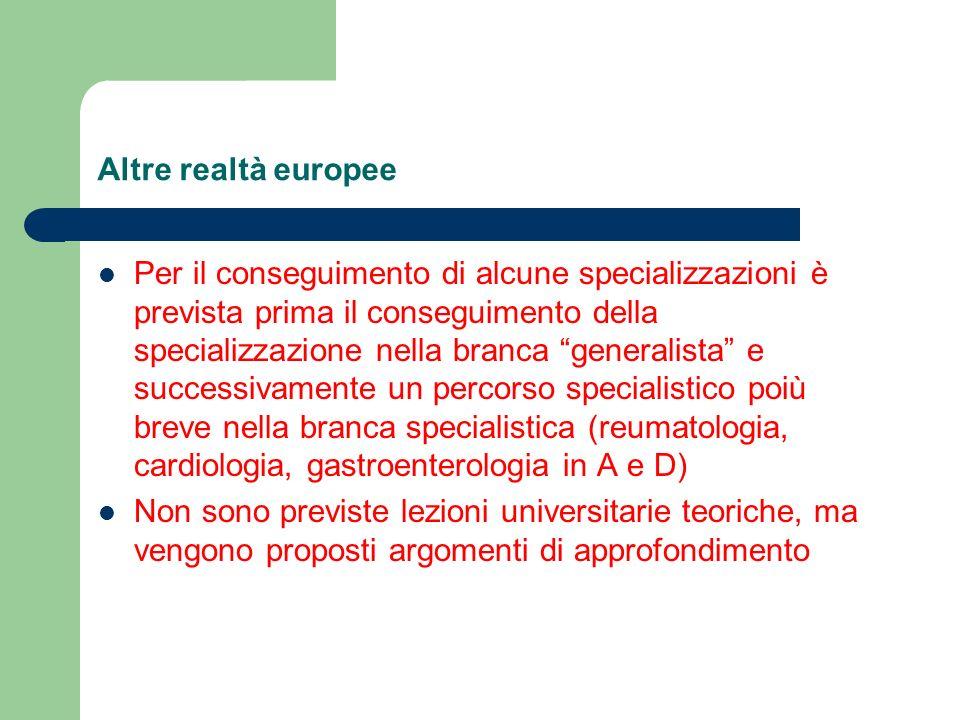 Altre realtà europee Per il conseguimento di alcune specializzazioni è prevista prima il conseguimento della specializzazione nella branca generalista