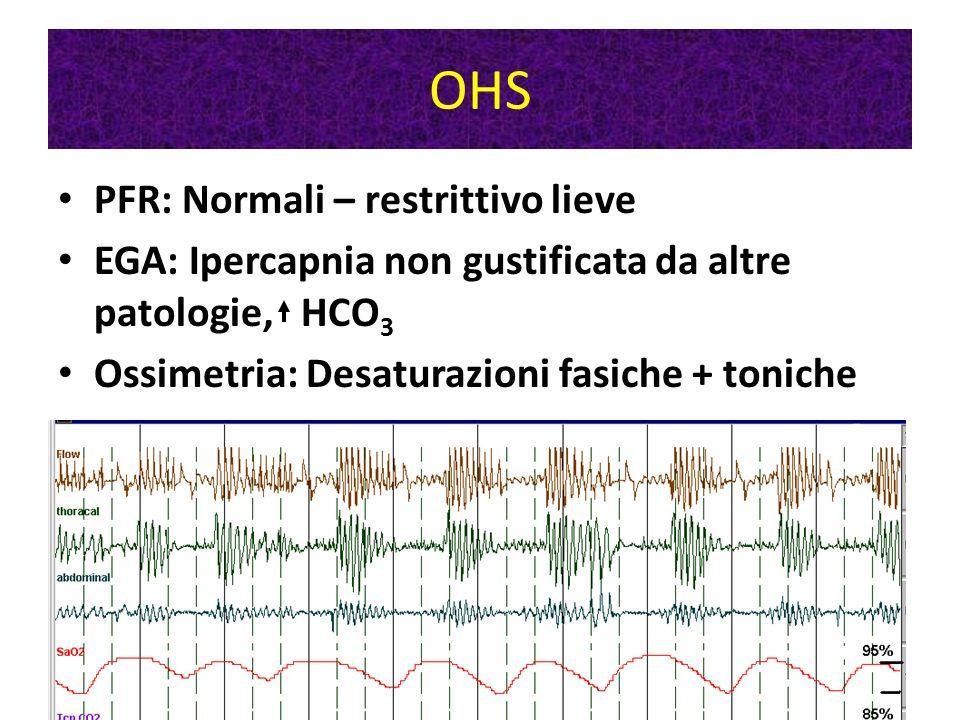 Patologie di parete PFR: restrittivo EGA: ipercapnia prima che ipossia, HCO 3 Ossimetria: Desaturazioni toniche (fasiche)