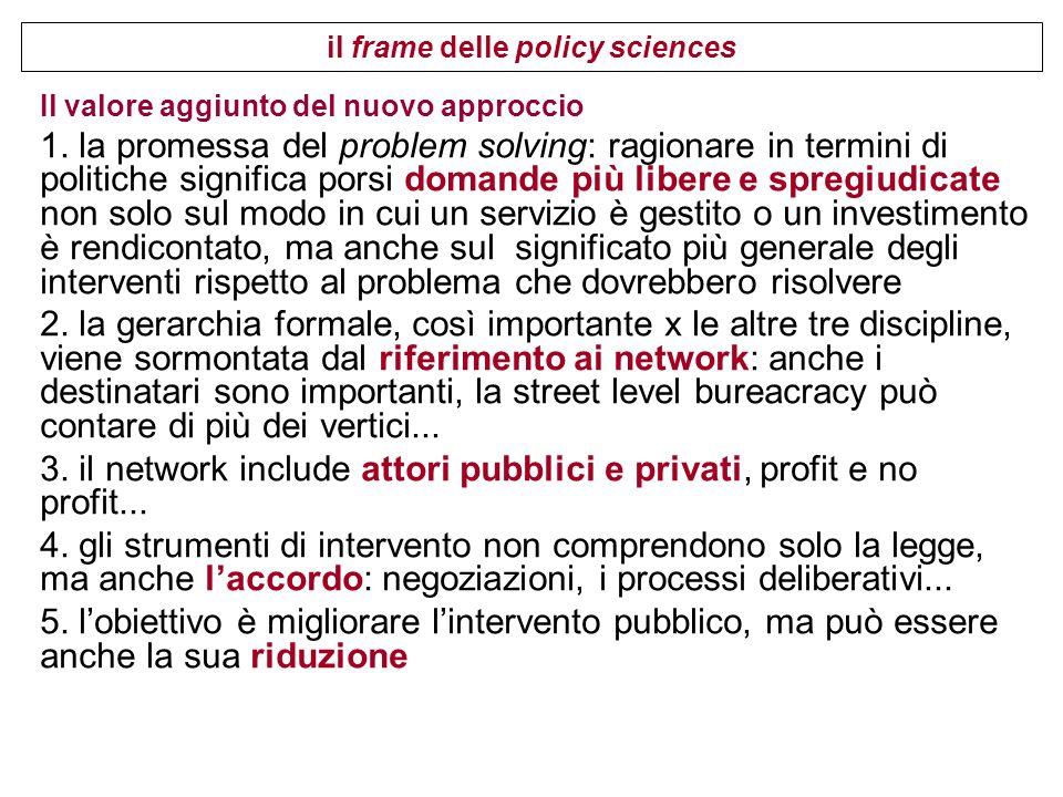 Una politica pubblica in genere si articola in programmi, che a loro volta si articolano in progetti più dettagliati.