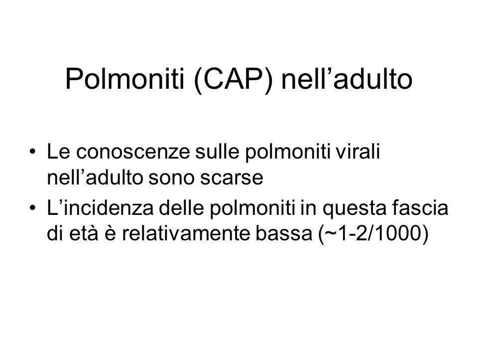 Polmoniti (CAP) nelladulto Le conoscenze sulle polmoniti virali nelladulto sono scarse Lincidenza delle polmoniti in questa fascia di età è relativame
